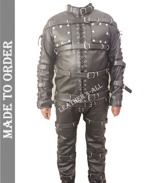 Men's Bondage Suit Black LEATHER Heavy Duty Restriction Bondage BDSM Costume