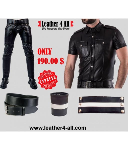 Men's Real Cowhide Leather Police Uniform BLUF Police Costume Shirt, Pants, Belt, Wrist Bands