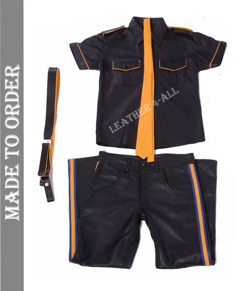 Men's Genuine Cow Leather Police Uniform BLUF Police Costume Shirt, Pants, Suspender, Wrist Bands and Tie Complete Set in Yellow Color