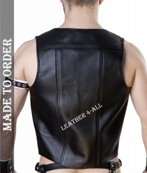 Men's Real Cowhide Natural Grain Contrast Panels Biker's Vest + Jockstrap + 2 Wrist Bands + 1 Arm Bands