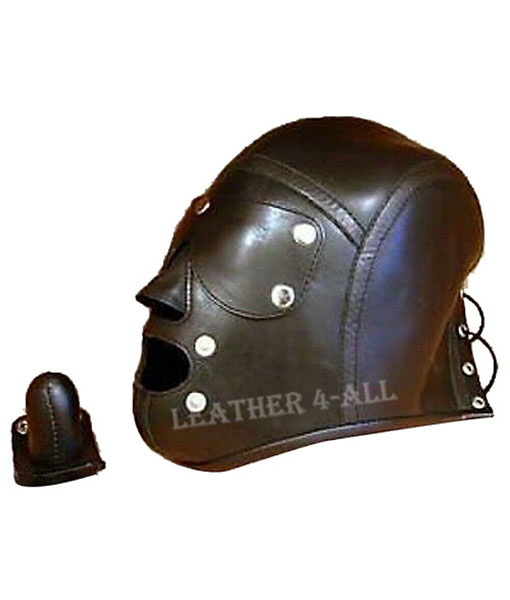 GENUINE LEATHER FACE MUZZLE HOOD MASK WITH BLINDFOLD AND DETACHABLE GAG HOOD 11
