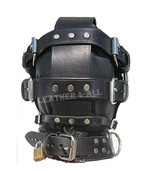 GENUINE LEATHER SENSORY DEPRIVATION BONDAGE HOOD WITH LOCKING MOUTH ZIP BH-1