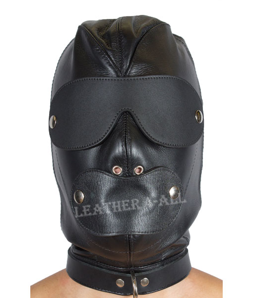 GENUINE LEATHER SENSORY DEPRIVATION LOCKING BONDAGE HOOD / MASK BH-2