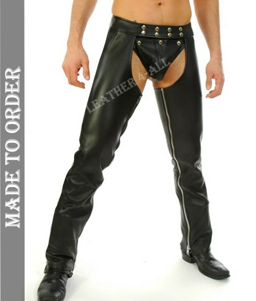 Men's Real Leather Chaps With Detachable Codpiece Bikers Leather Chaps