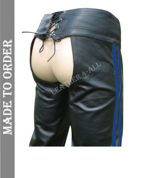 Men's Real Leather Bikers Chaps Leather Chaps Available In 3 COLORS Stripes