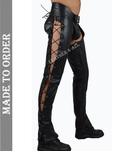 Men's Genuine Cowhide Natural Grain Soft Leather Motor Bikers Leather Chaps with Side Laces Up