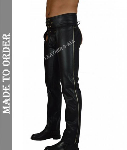 Men's Real Leather Motor Bikers Leather Chaps With Side Zipper