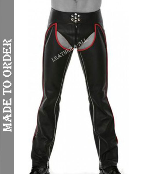 Men's Real Soft Cowhide Leather Motor Bikers Leather Chaps With Red Piping