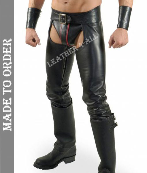 Men's Cowhide Natural Leather Chaps with Jock Strap + FREE Wrist Bands