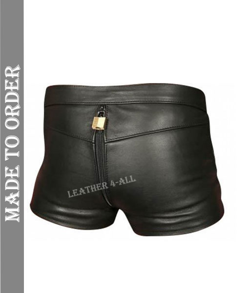 Men's Real Leather Chastity Shorts With Free Padlocks
