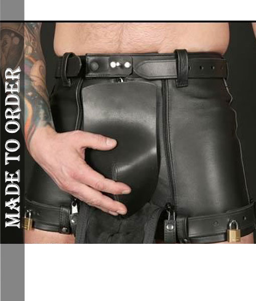 MEN'S REAL LEATHER RESTRAINTS CHASTITY SHORTS WITH FREE PADLOCKS