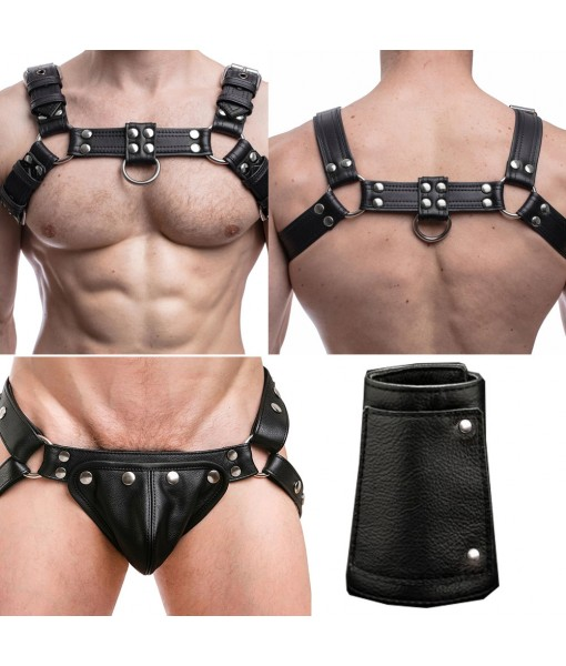 Men Leather Chest Harness And Jockstrap Set Adjustable Strap With Free Wristbands In Plain Black Color with Silver Studs
