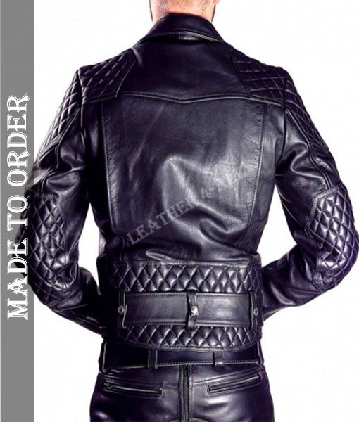 Men's Cowhide Natural Leather Motor Bike Jacket Quilted Panels Bikers Jacket