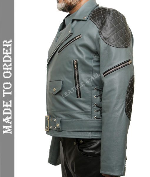 Men's Natural Cowhide Leather Bikers Jacket Quilted Panels Gray Leather Jacket