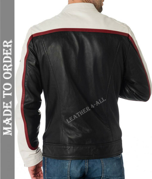 Men's Real Cowhide Natural Grains Bikers Leather Jacket with  Contrast of Black & White in Red Piping
