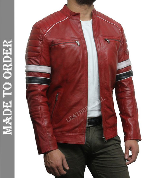 Men's Real Cowhide Leather Padded Motor Bikers Leather Jacket in Red Color