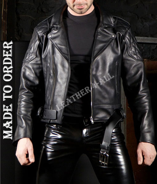 Men's Genuine Cowhide Natural Grains Leather Motor Bikers Jacket Quilted Panels Bikers Jacket