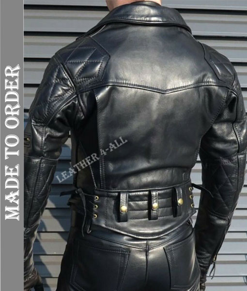 Men's Real Leather Bikers Jacket Quilted Or Padded Panels Bikers Leather Jacket