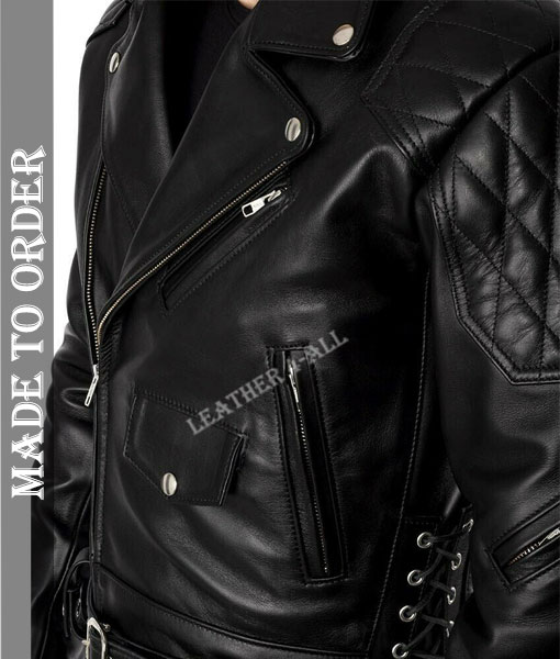 Men's Real Cowhide Bikers Jacket With Quilted Panels And Laces Up Bikers Jacket
