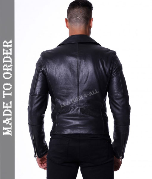 Men's Natural Cowhide Natural Grain Thick Cow Leather Motor Biker's Leather Jacket