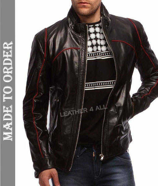 Men's Real Cowhide Natural Grains Bikers Leather Jacket in Pure Black Leather with Red Piping