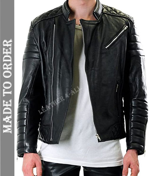 Men's Real Cowhide Natural Leather Motor Bikers Quilted Panels Jacket