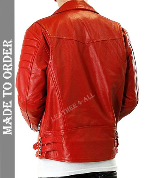 Men's Real Natural Grain Cowhide Leather Motor Bikers Jacket With Quilted Panels BLUF in Red Color