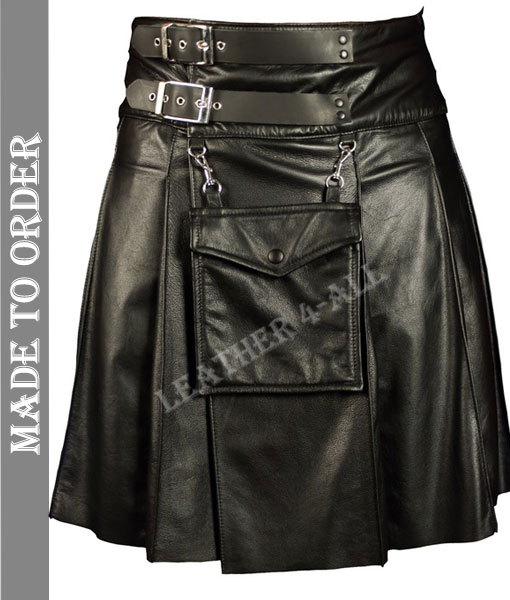 Men's Real Lamb Skin Soft Leather Pleated Kilt Club Wear Kilt With Detachable Front Pocket