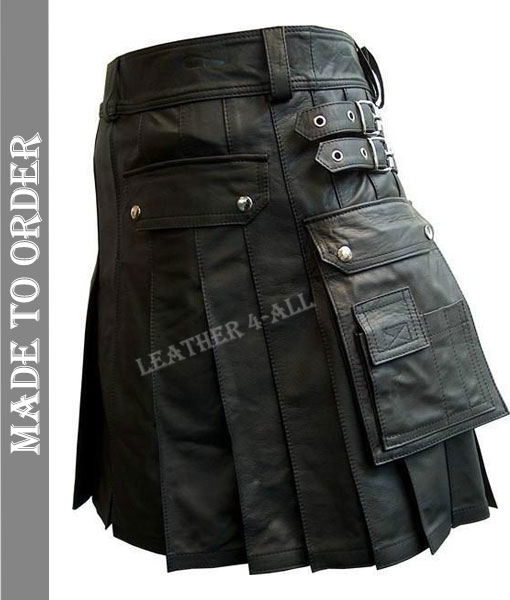 Men's Real Leather Pleated Kilt Club Wear Kilt With Cargo Pockets