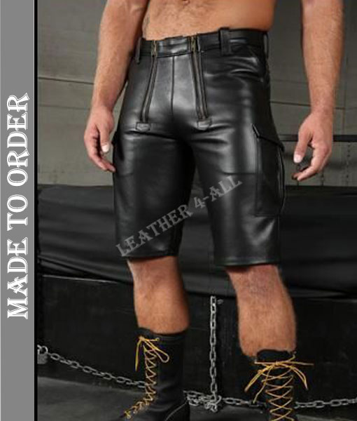 Men's Real Leather Carpenter Shorts With Cargo Pockets Carpenter Shorts Made to Measure