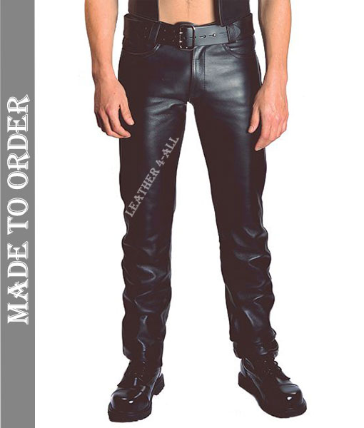 Men's Real Cow Leather Slim Fit Levi's Style Pants Leather Slim Fit Casual Pants