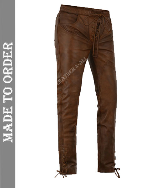 Men's Real Cow Leather Front Laces Up Closure 3 Pockets Vintage Bikers Leather Trouser