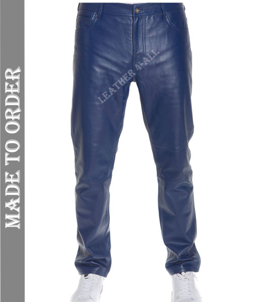 Men's Real Cowhide Natural Grains Leather Bikers Pants In Blue Leather BLUF Bikers Pants