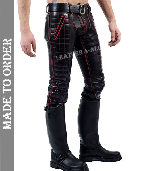 Men's Real Leather Bikers Pants With Quilted Panels And Color Piping BLUF Pants