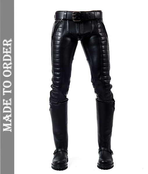 Men's Real Leather Bikers Pants With Quilted Panels Back Zip Bikers BLUF Pants