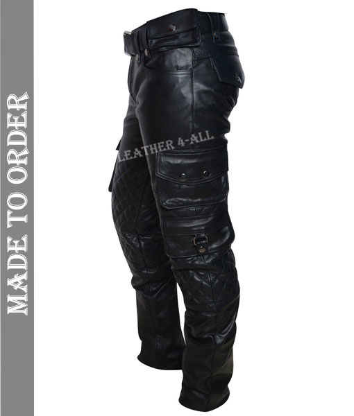 Men's Real Leather Bikers Pants With Quilted Panels And Cargo Pockets Trousers