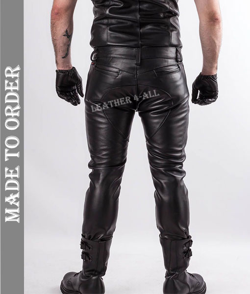 Men's Real Cowhide Leather Bikers Pants Quilted Panel Open Zip Fly Bikers Pants