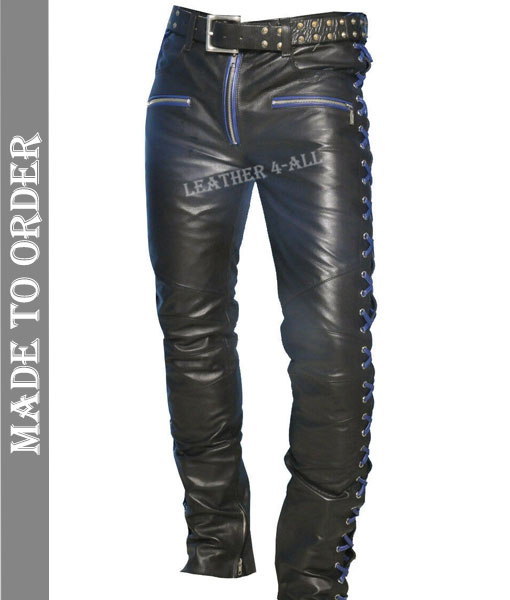 Men's Real Cowhide Leather Laces Up Pants Bikers Contrast Laces Up Pants