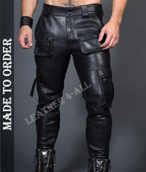 Men's Cowhide Natural Grain Leather Bikers Cargo Pants with New Design Cargo Leather Trousers