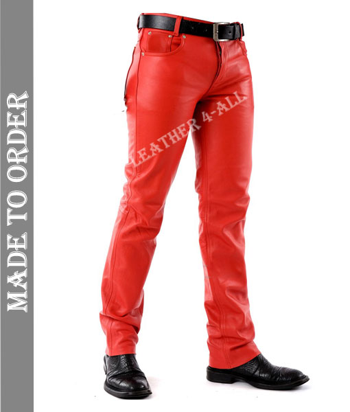 Men's Real Cowhide Blue Leather Levi's Style Pants / Trousers Motor Bikers Pants in Red Color