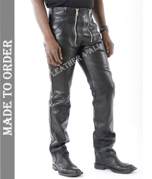 Men's Real Cowhide Natural Grain Leather Carpenter Pants