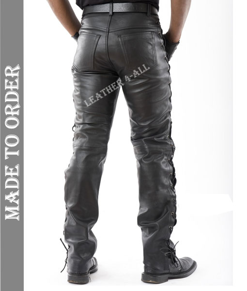 Men's Real Natural Grain Cow Leather Bikers Pants Laces Up Style Bikers Pants Side Laces Pants