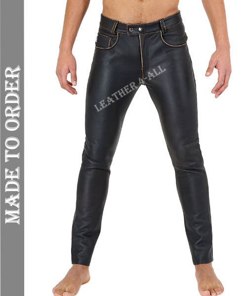 Men's Genuine Cow Leather Distressed Bikers Leather Pants