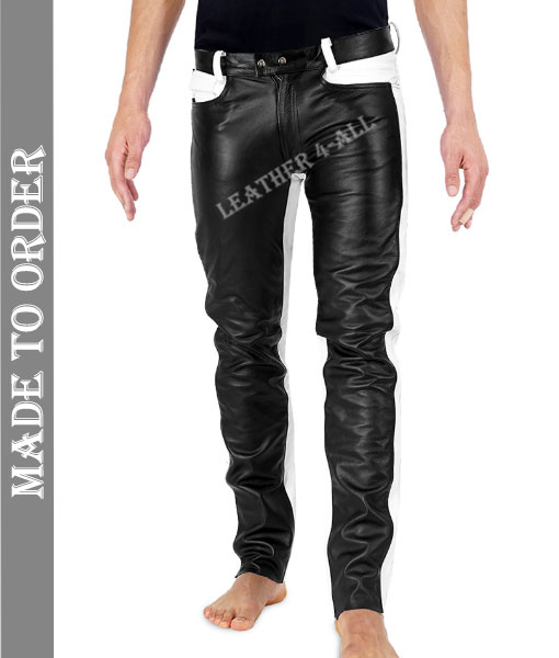 Men's Real Cowhide Leather Bikers Unique Style Black & White Leather Pants