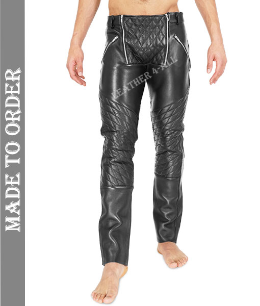 Men's Real Cowhide Leather Bikers Pants Quilted Panel 2 Open Zip Fly Bikers Pants