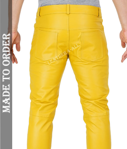 Men's Real Cowhide Blue Leather Levi's Style Pants / Trousers Motor Bikers Pants In Yellow Color