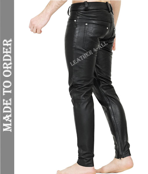 Men's Real Cow Leather Slim Fit Leather Casual Pants BLUF Gay Leather Pants with Inside Ankle Zip Closure