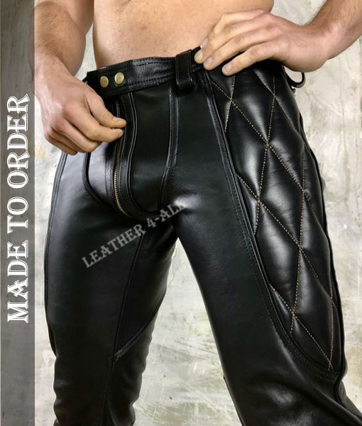 Men Real Leather Bikers Pants Diamond Quilted Panels MADE TO ORDER Leather Pants