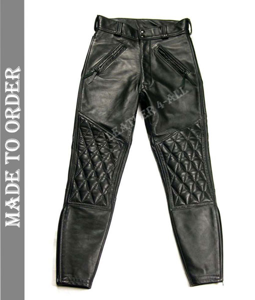 Men's Real Cowhide Natural Grain Leather Quilted Panels Bikers / Gay Interest Pants