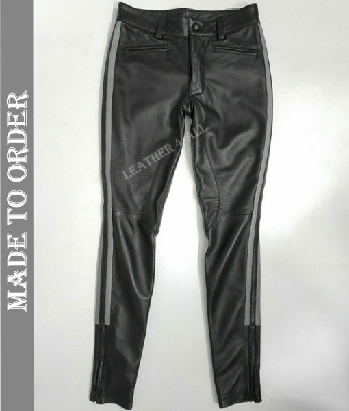 Men's Genuine Cow Leather BLUF Bikers Pants With Side White Panels